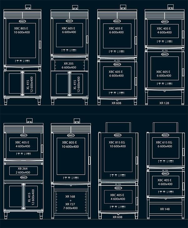 Варианты установки печей Unox в колонну